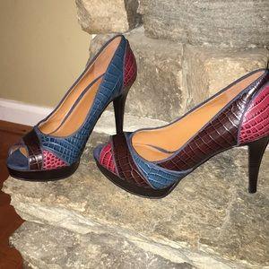 Nine West Open Toe Heels Size 8 1/2